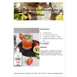 Opskrift på Gin & Tonic med jordbær-rabarber og basilikum